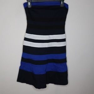 DKNY Striped Zip Back Tube Strapless Party Dress